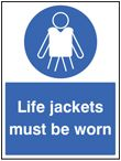 Life jackets must be worn sign